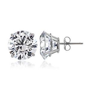 Jewelry - 14k White Gold 1.50 Cttw CZ Round Stud Earring 6mm